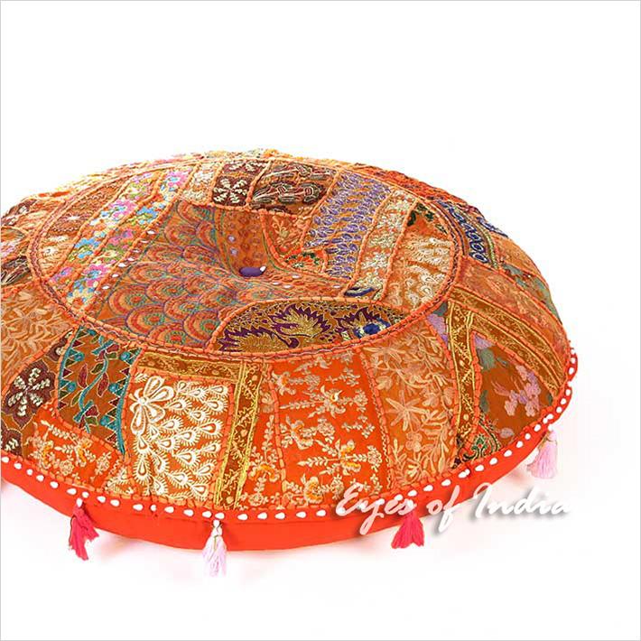 "Orange Round Decorative Seating Bohemian Colorful Floor Meditation Cushion Boho Pillow Throw Cover - 28"""
