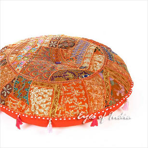 Orange Round Decorative Seating Bohemian Colorful Floor Meditation Cushion Boho Pillow Throw Cover - 28""