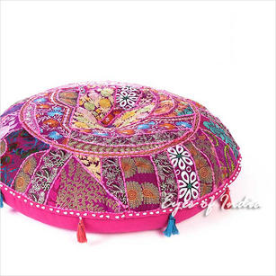 Pink Round Colorful bohemian Patchwork Boho Floor Seating Cushion Throw Cover - 28""