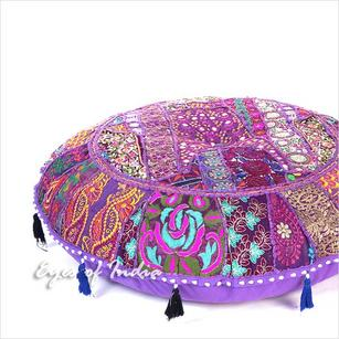 Purple Boho Round Decorative Seating Bohemian Floor Cushion Meditation Pillow Throw Cover - 28""
