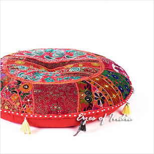 Red Round Boho Patchwork Bohemian Colorful Floor Seating Pillow Meditation Cushion Throw Cover - 28""