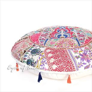 White Round Colorful Patchwork Boho Bohemian Floor Seating Pillow Throw Cover - 28""