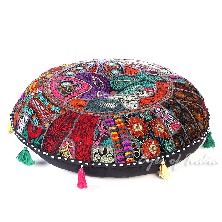 Black Boho Round Decorative Seating Bohemian Throw Colorful Floor Cushion Meditation Pillow Cover - 32""