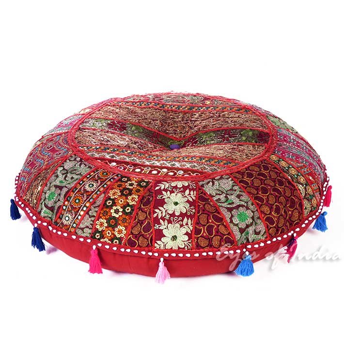 Red Burgundy Bohemian Round Decorative Seating Boho Colorful Floor Cushion Meditation Pillow Cover - 32""