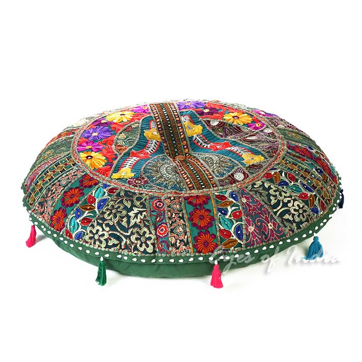 Green Bohemian Patchwork Round Boho Decorative Seating Floor Meditation Pillow Cushion Cover - 32""
