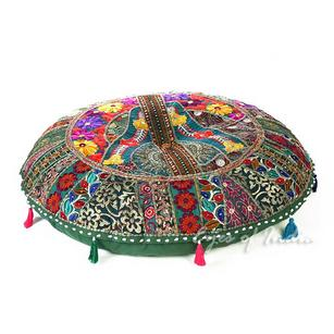 Green Patchwork Round Boho Decorative Seating Colorful Floor Meditation Pillow Cushion Cover - 32""