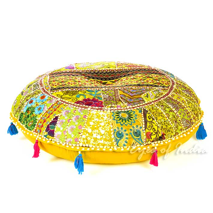 Round Yellow Decorative Seating Boho Bohemian Throw Colorful Floor Meditation Cushion Pillow Cover - 32""