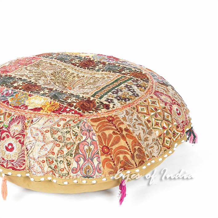 Light Brown Patchwork Round Boho Colorful Floor Seating Meditation Pillow Cushion Throw Cover - 32""