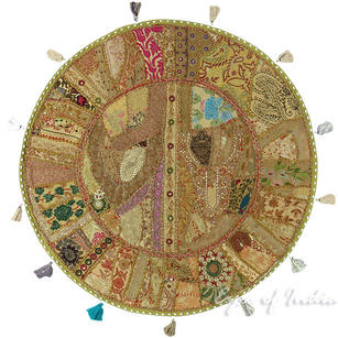 """Light Brown Bohemian Patchwork Round Boho Floor Seating Meditation Pillow Cushion Throw Cover - 32"""""""