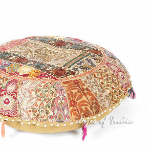 """Light Brown Patchwork Round Boho Colorful Floor Seating Meditation Pillow Cushion Throw Cover - 32"""""""