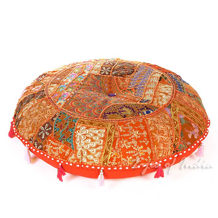 Orange Round Boho Decorative Seating Bohemian Colorful Floor Meditation Cushion Pillow Throw Cover - 32""