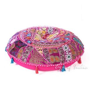 Pink Round Decorative Seating Bohemian Throw Colorful Floor Cushion Boho Meditation Pillow Cover - 32""