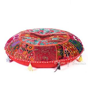 Red Patchwork Round Boho Floor Seating Pillow Bohemian Throw Meditation Cushion Cover - 32""