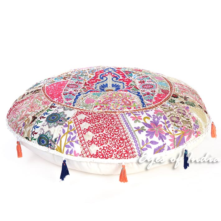 "White Boho Round Decorative Seating Bohemian Throw Colorful Floor Cushion Meditation Pillow Cover - 32"""