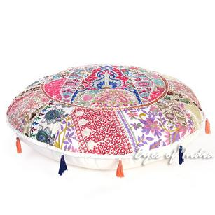White Boho Round Decorative Seating Bohemian Throw Floor Cushion Meditation Pillow Cover - 32""