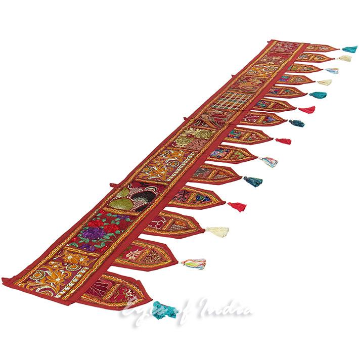 "Burgundy Red Door Window Bohemian Wall Hanging Valance Toran Boho Tapestry - 40"""