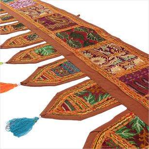 Brown Embroidered Boho Door Window Valance Bohemian Toran Wall Tapestry - 78""