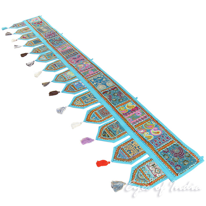 Light Blue Boho Patchwork Bohemian Window Door Valance Toran Wall Tapestry- 78""