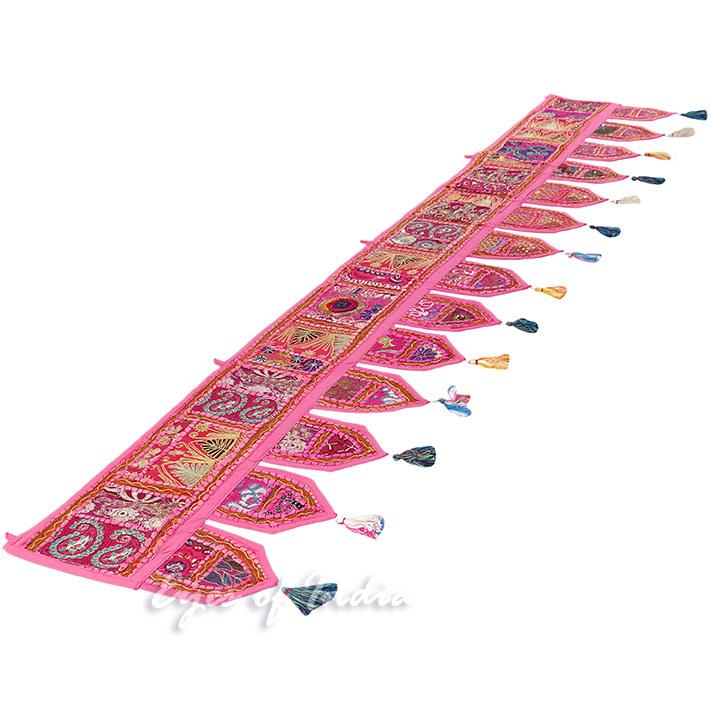 "Pink Patchwork Boho Bohemian Window Door Valance Toran Hanging Tapestry - 78"""