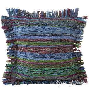 Blue Chindi Decorative Throw Pillow Couch Cushion Boho Rag Rug Bohemian Cover - 12""