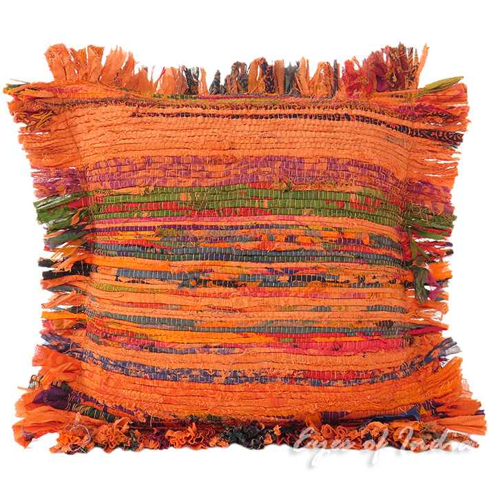 Orange Chindi Colorful Decorative Sofa Throw Pillow Couch Cushion Boho Rag Rug Bohemian Cover - 12""