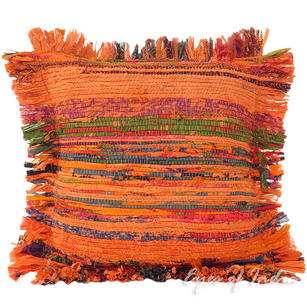 Orange Chindi Decorative Throw Pillow Couch Cushion Boho Rag Rug Bohemian Cover - 12""