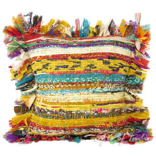 Yellow Chindi Colorful Decorative Boho Rag Rug Bohemian Sofa Throw Pillow Couch Cushion Cover - 12""