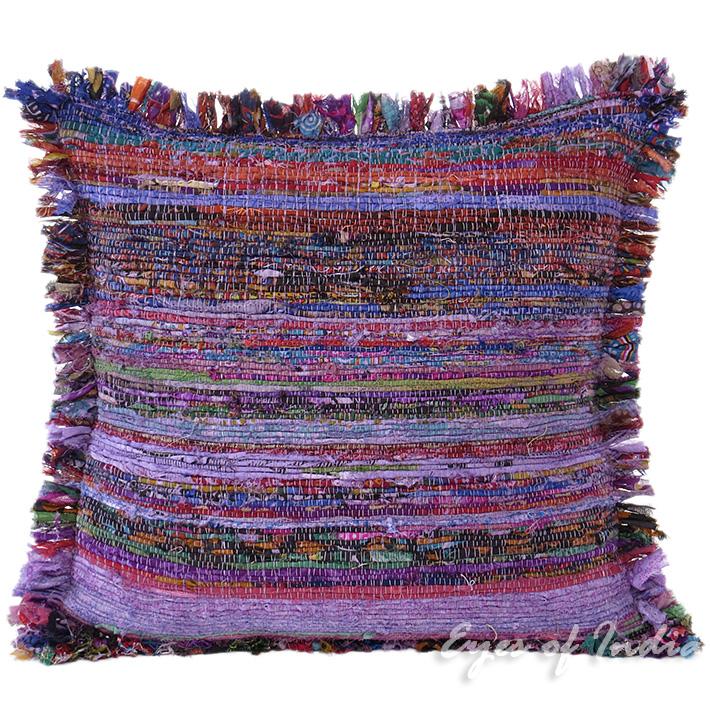 "Purple Chindi Colorful Decorative Boho Rag Rug Bohemian Sofa Throw Pillow Couch Cushion Cover - 20"""