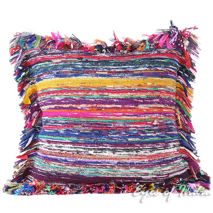 "Blue Red Chindi Colorful Decorative Sofa Throw Couch Pillow Cushion Boho Rag Rug Bohemian Cover - 24"""
