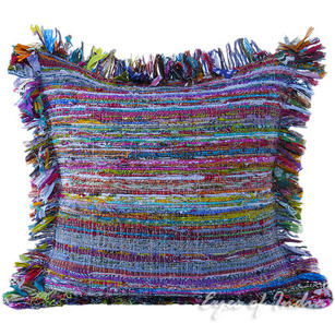 Blue Red Chindi Decorative Throw Pillow Cushion Boho Rag Rug Bohemian Cover - 24""