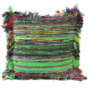 Green Chindi Colorful Decorative Boho Rag Rug Bohemian Sofa Throw Pillow Couch Cushion Cover - 24""