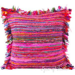 Pink Chindi Decorative Pillow Couch Cushion Boho Rag Rug Bohemian Throw Cover - 24""