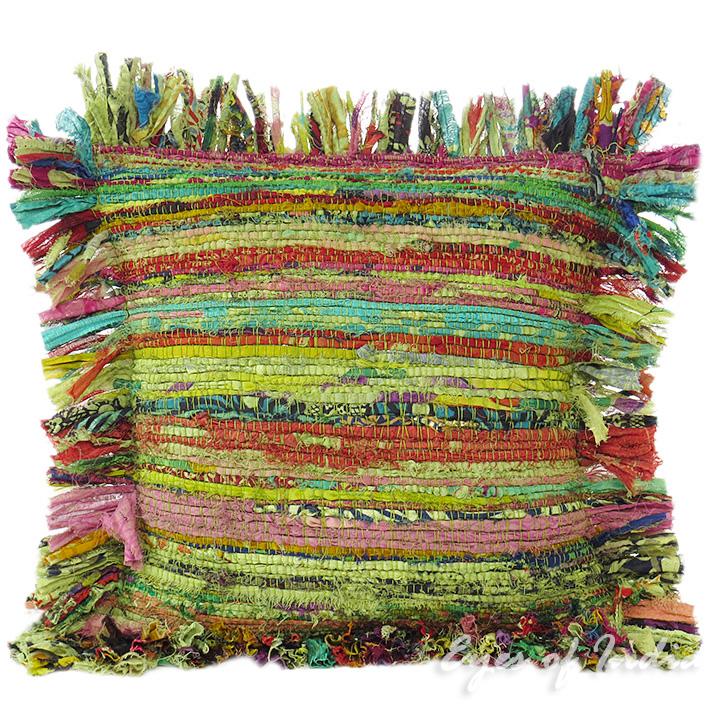 Green Chindi Rag Cushion, Upcycled Cushion Handmade In