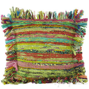Green Chindi Decorative Boho Rag Rug Bohemian Throw Pillow Couch Cushion Cover - 12""