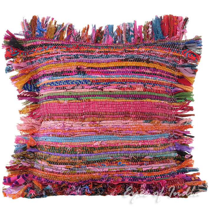 Pink Chindi Colorful Decorative Boho Rag Rug Bohemian Sofa Throw Pillow Couch Cushion Cover - 12""