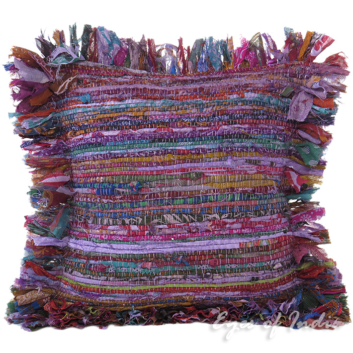 Purple Chindi Decorative Throw Pillow Couch Cushion Boho Rag Rug Bohemian Cover - 12""