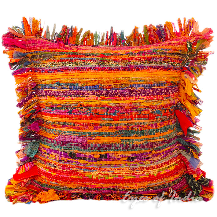 Orange Chindi Colorful Decorative Sofa Throw Pillow Couch Cushion Boho Rag Rug Bohemian Cover - 16""