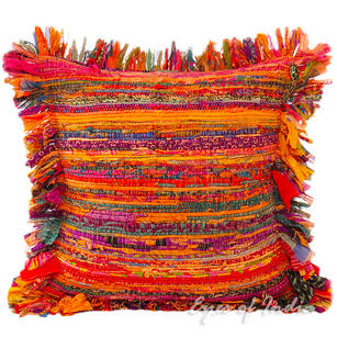 Orange Chindi Decorative Throw Pillow Couch Cushion Boho Rag Rug Bohemian Cover - 16""
