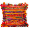 "Orange Chindi Colorful Decorative Sofa Throw Pillow Couch Cushion Boho Rag Rug Bohemian Cover - 16"" 1"