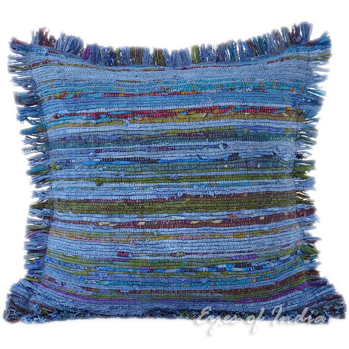 Blue Chindi Colorful Decorative Boho Rag Rug Bohemian Sofa