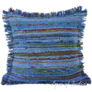 Blue Chindi Colorful Decorative Boho Rag Rug Bohemian Sofa Throw Pillow Couch Cushion Cover - 20""