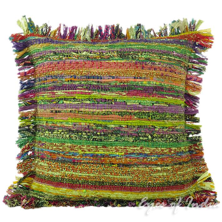 "Green Chindi Colorful Decorative Sofa Throw Pillow Couch Cushion Boho Rag Rug Bohemian Cover - 20"""
