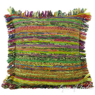 Green Chindi Decorative Throw Pillow Couch Cushion Boho Rag Rug Bohemian Cover - 20""