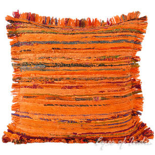 Orange Chindi Colorful Decorative Boho Rag Rug Bohemian Sofa Throw Pillow Couch Cushion Cover - 20""