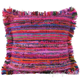 Pink Chindi Colorful Throw Pillow Couch Sofa Cushion Boho Rag Rug Bohemian Cover - 20""