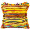 "Yellow Chindi Colorful Decorative Sofa Throw Pillow Couch Cushion Boho Rag Rug Bohemian Cover - 20"" 1"