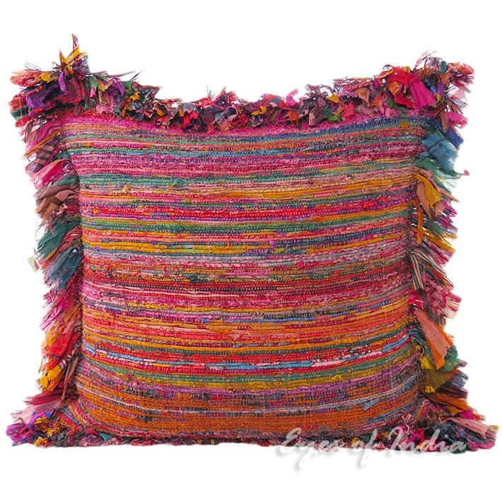 "Burgundy Red Chindi Colorful Decorative Boho Rag Rug Bohemian Couch Pillow Sofa Throw Cushion Cover - 24"""