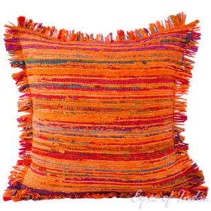 Orange Chindi Decorative Throw Pillow Couch Cushion Boho Rag Rug Bohemian Cover - 24""