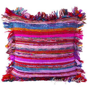Purple Chindi Colorful Decorative Boho Rag Rug Bohemian Sofa Throw Pillow Couch Cushion Cover - 24""
