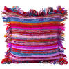 "Purple Chindi Colorful Decorative Boho Rag Rug Bohemian Sofa Throw Pillow Couch Cushion Cover - 24"" 1"